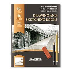 caiet-desen-a5-24-file-90g-mp-pentru-schite-creion-aurora-d-art-hartie-alba