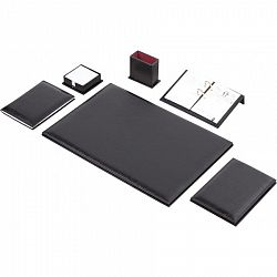 set-birou-7-piese-imitatie-piele-culoare-maro-negru