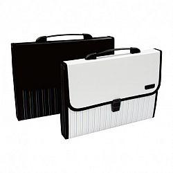 servieta-plastic-cu-maner-deli-7-compartimente-alb-negru