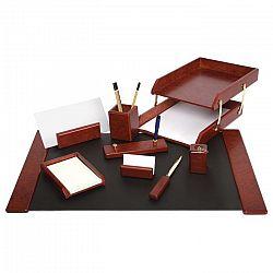Set de birou Forpus, din lemn visiniu, cu 9 piese