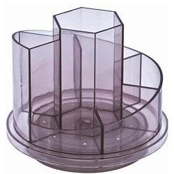 suport-plastic-pentru-accesorii-de-birou-rotativ-7-compartimente-kejea-fumuriu