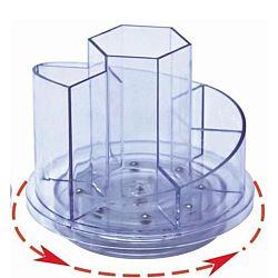 suport-plastic-pentru-accesorii-de-birou-rotativ-7-compartimente-kejea-transparent