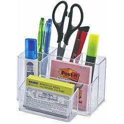 suport-plastic-pentru-accesorii-de-birou-6-compartimente-kejea-transparent