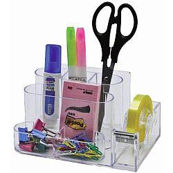 suport-plastic-pentru-accesorii-de-birou-7-compartimente-kejea-transparent