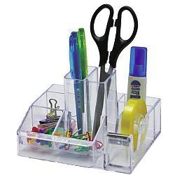 suport-plastic-pentru-accesorii-de-birou-8-compartimente-kejea-transparent