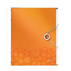 mapa-leitz-wow-cu-6-separatoare-pp-portocaliu-metalizat