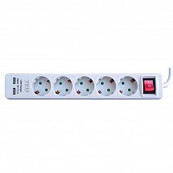 prelungitor-ted-electric-cu-protectie-5-prize-schuko-2-iesiri-usb-2-0-cablu-3m-3x1mm-alb